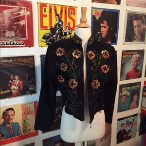 Sequin beaded canvas jacket